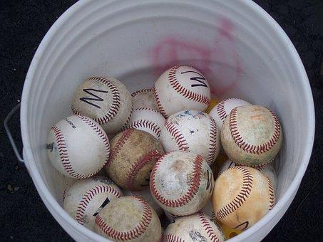 Baseball, Sports, Bucket Of Balls, Game
