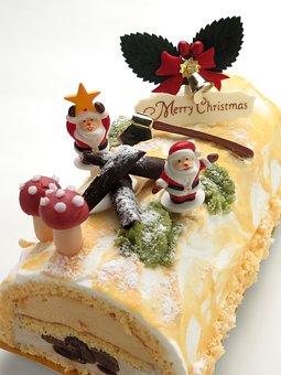 Cake, Christmas, Bush Denoel, Bell, Food, Candy, Fruit
