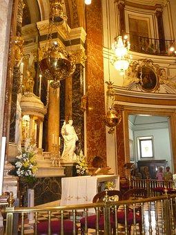 Basilica, Inside, Gold Mass, Valencia, Church, Old
