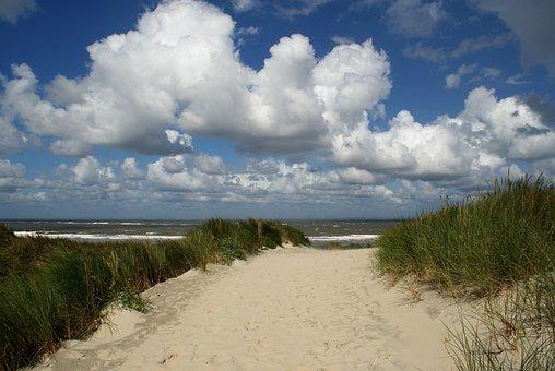 Borkum, North Sea, Beach, Coast, Path, Sand