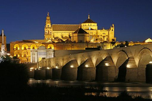 Cordoba, Church, River, Night, Water