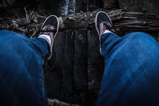 Cliff, Dam, Denim, Desaturated, Feet, Jeans, Lake