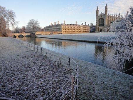 Cambridge, Frost, Zmrożony, Castle, College