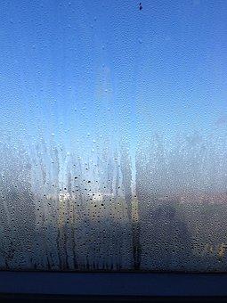 Fogging, Sky, Glass, Window, Drops, Blue, City, Field