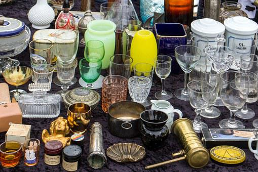 Flea Market, Stand, Cup, Glasses, Tableware
