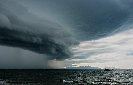 Thunderstorm, Beach, Ocean, Clouds, Rain, Hoi Town