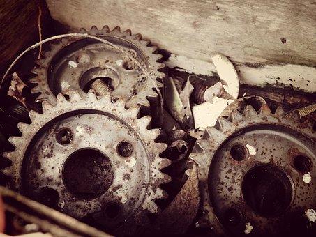 Gears, Old Stuff, Junk, Rusty Metal, Rustic