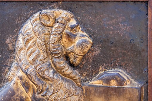 Lion, Gilded, Relief, Middle Ages, Coat Of Arms, Fig