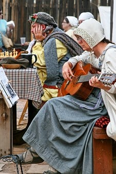 Woman, Man, Costume, Old Fashioned, Guitar, Chess