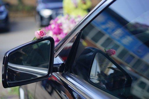 Marry, Automotive, Wedding, Decoration, Flower, Mirror