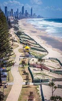 Gold Coast, Skyline, Beach, Path, Coast, Australia