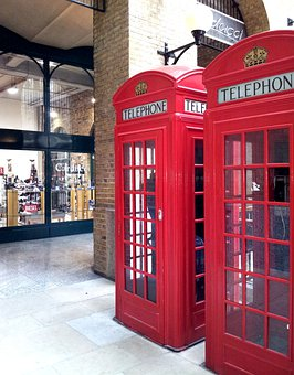 London, Cabins, Phone, Red