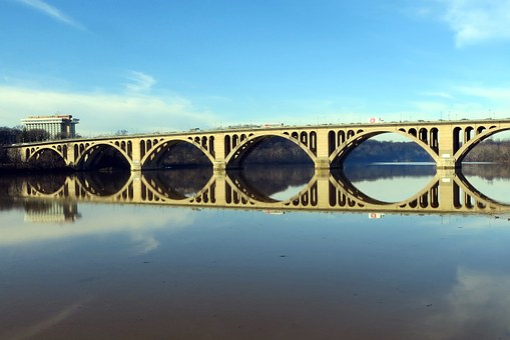 Key Bridge, Potomac, Reflection, River, Dc, Arlington