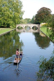 Punt, Cambridge, River, Boat, Punting, Water, Bridge