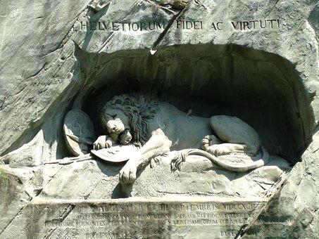 Lion, Lucerne, Luzern, Switzerland, Sculpture, Statue