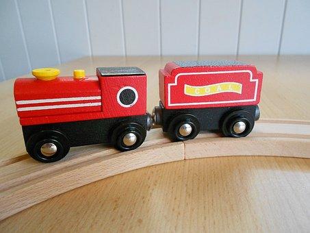 Wooden Train, Toy, Train Set, Train, Wooden, Rail