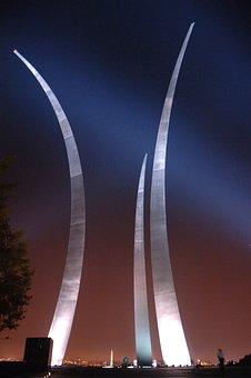 Arlington, Virginia, Night, Evening, Lights, Sculpture