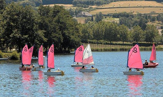 Sailboats, Sailing, Boats, Lake, School, Water