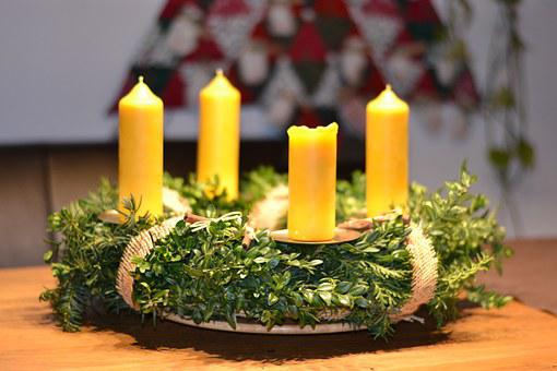 Advent Wreath, Christmas, Deco, Beeswax Candles, Green