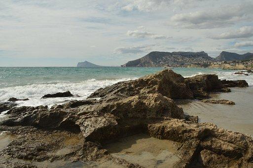 Sea, Beach, Rock, Branding, Landscape, Calp, Spain