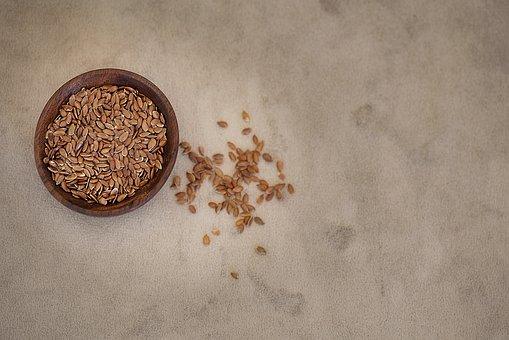 Flax Seed, Seeds, Bowls, Holzschüsselchen, Food