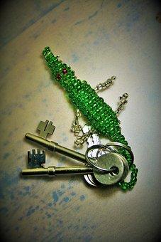 Bunch Of Keys, Key Ring, Keys, Green, Beads, Wire
