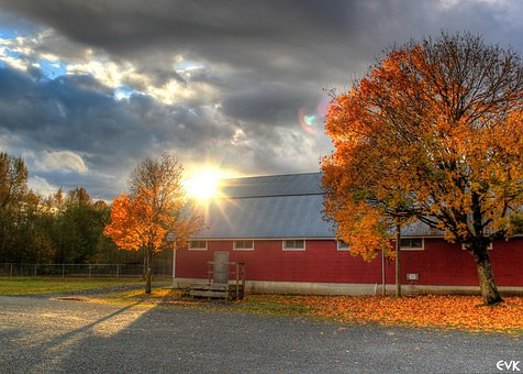 Barn, Red, Sunset, Clouds, Campbell, Valley, Park