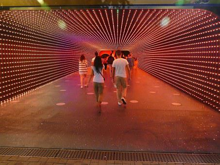Tunnel, Passage, Lights, Commercial Building