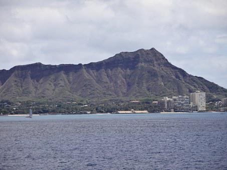 Diamond Head, Hawaii, Ocean, Diamond, Head, Oahu, Blue