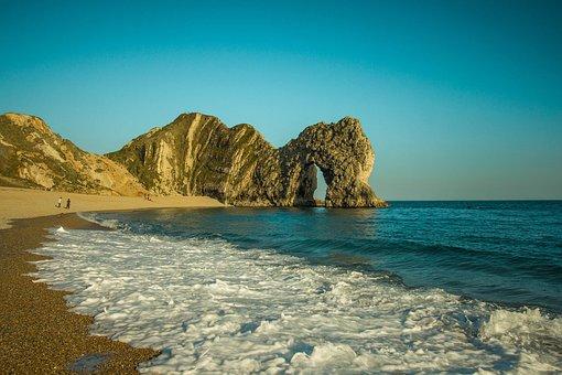 Durdle Door, Rock, Ocean, Sky, Seascape, Limestone Arch