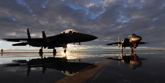 Us Air Force, F-15e, Fighter Jet, Aircraft, Sky, Clouds
