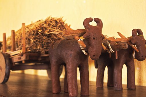 Oxcart, Clay, Old, Figuredecore, Figures, Decorate