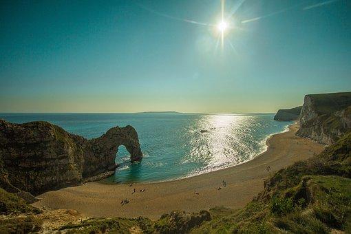 Durdle Door, Limestone Arch, Beach, Reef, Rock, Cave