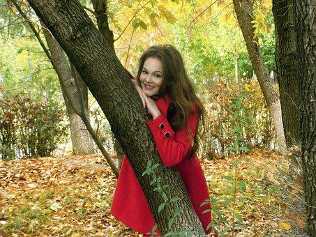 Autumn, Little Red Riding Hood, Girl, Autumn Leaves