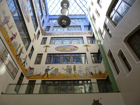 Leipzig, Passage, Mural, Architecture, Shopping Arcade