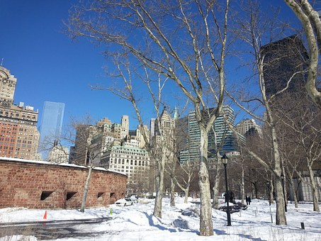 New York, Nyc, Battery Park, Winter, Snow, Sunny, City