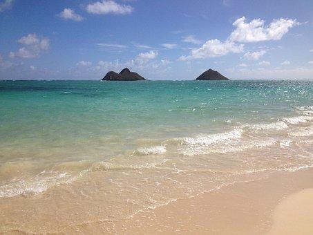 Lanikai, Islands, Beach, Oahu, Ocean, Hawaii, Clouds