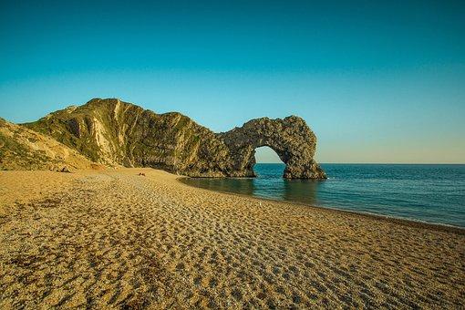 Durdle Door, Limestone Arch, Ocean, Beach, Reef, Rock