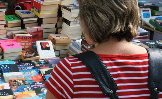 Flea Market, Books, Box, Browse, Woman, Read, Title