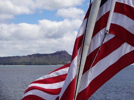 Us Flag, Flag, Usa, Red, White, Diamond Head, Hawaii