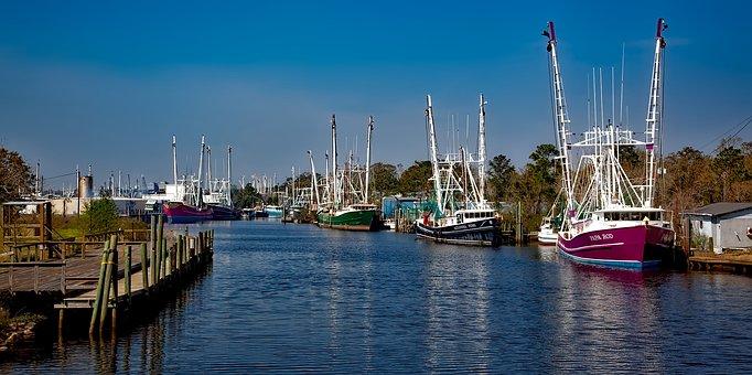 Bayou La Batre, Alabama, Bay, Harbor, Hdr, Reflections
