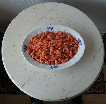 Fjord Shrimp, Prawns, Cooked, Food, Dining, Seafood