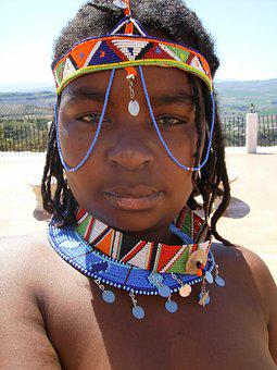 Woman, African, Tribal, Naked, Guy, Portrait, Jewelry
