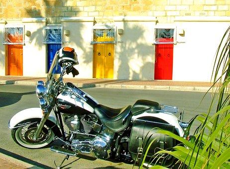 Harley Davidson, Harley, Mediterranean Scene, Red Door