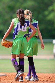 Softball, Team Mates, Female, Team, Game, Play, Player