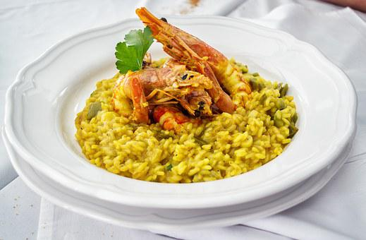 Food, Risotto, Saffron, Shrimps, Prawns, Sea Food, Rice