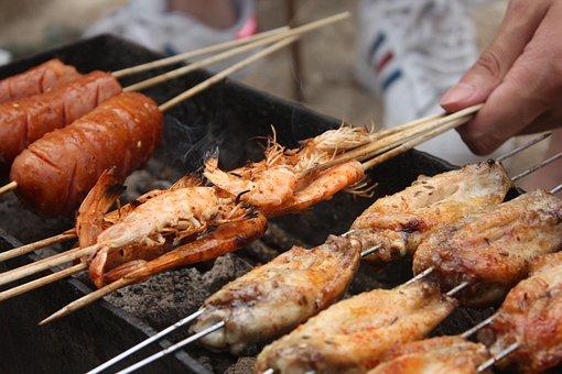 Weihai, Barbecue, Shrimp, Sausage, Seafood, Grill, Food