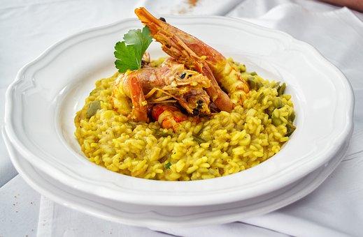 Risotto, Saffron, Shrimps, Prawns, Sea Food, Rice, Food