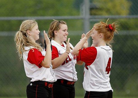 Softball, Girls, Team Mates, Happy, Athlete, Sport