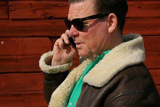 Man, Middle-aged, Sunglasses, Phone, Face, Talk